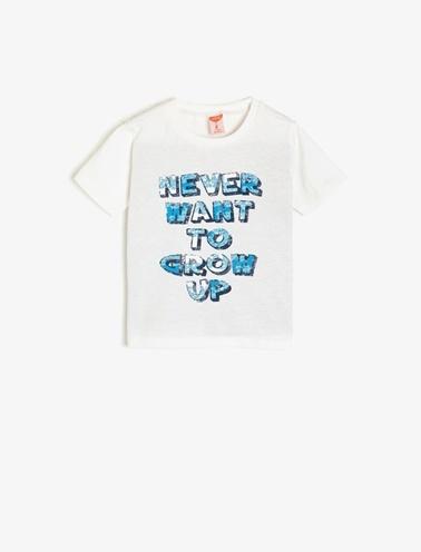 Koton Kids Yazılı Baskılı T-Shirt Beyaz